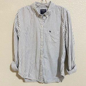 Abercrombie Women's Striped Icon Oxford Shirt Sz L